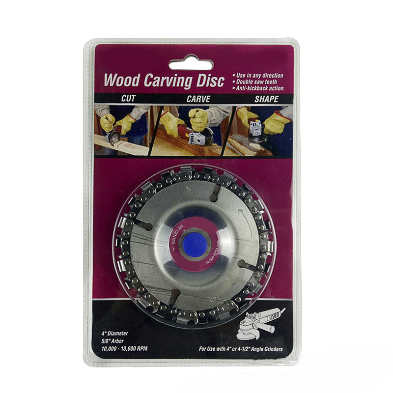 Angle Grinding Chain Plate Woodworking Chain Plate Wood Carving Disc For Angle Grinder Power Tool Accessories angle grinder spindle output shaft for dewalt dw100 dw803 dw810 for black decker 6288 power tool accessories