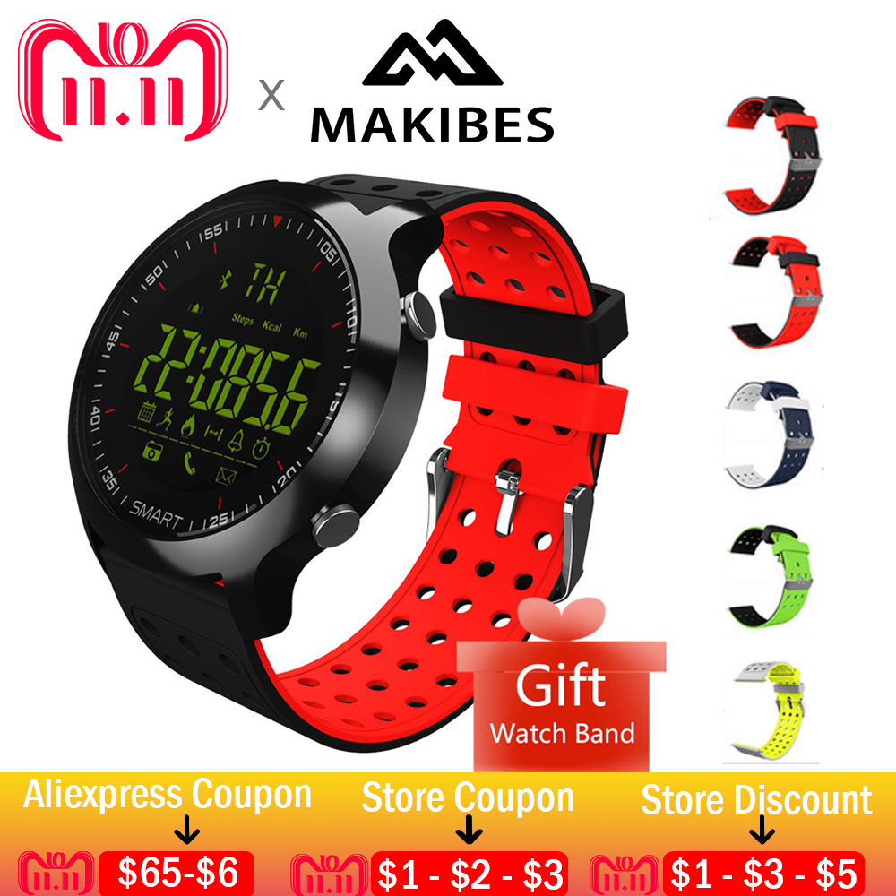 11.11 Free strap Smart Sports Watch Makibes EX18C Bluetooth 4.0 Sports Watch 5 ATM Water Resistant Remote Control Fitness Watch цена