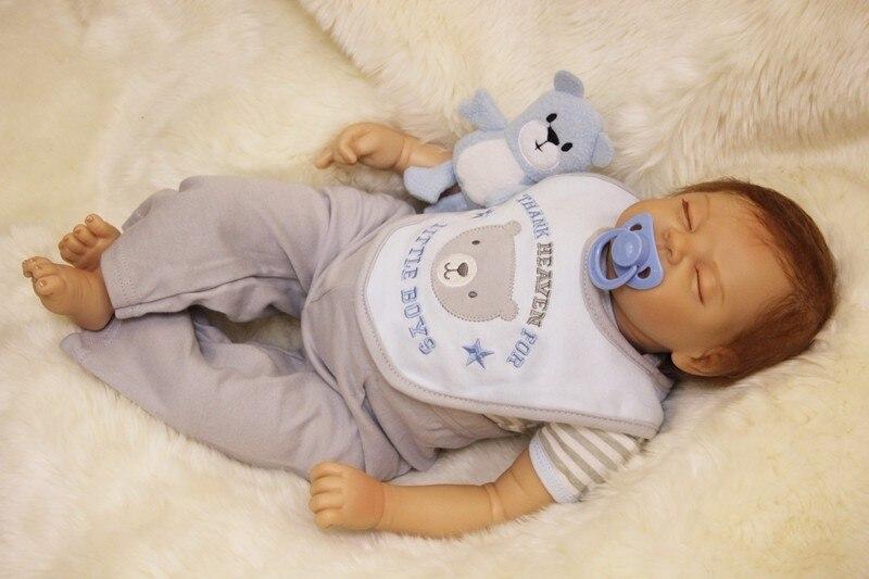 Silicone Reborn bébé poupées jouet 55 cm beau nouveau-né dormir garçon bébés beau cadeau d'anniversaire enfants présents filles Brinquedos