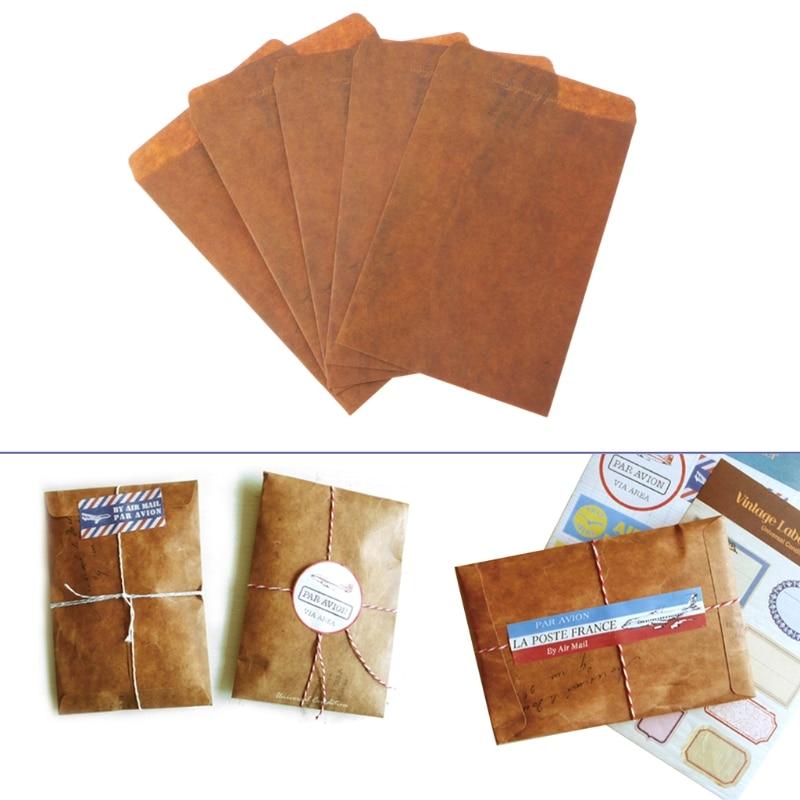 5 Pcs/lot Creative European Style Vintage Kraft Paper Envelope For Postcard Novelty Item Kids Gift Stationery