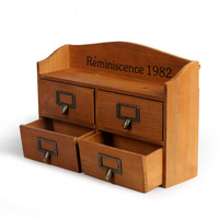 4 Lattices Large Size Desktop Wooden Small Storage Drawer Solid Wood Wall Hanging Sorting Cabinet