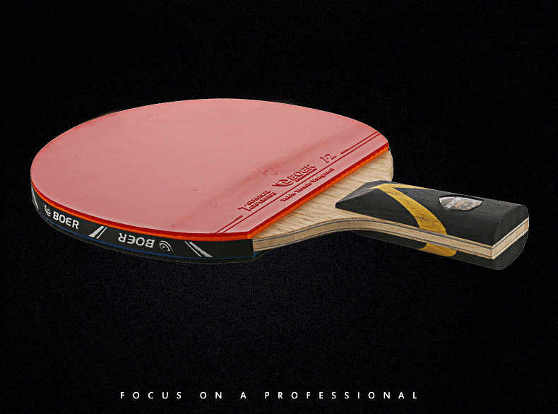 Shake-hand Table Tennis Racket Double Face Ping Pong Paddle Waterproof Bag Pouch Red Table Tennis Bats with Bag