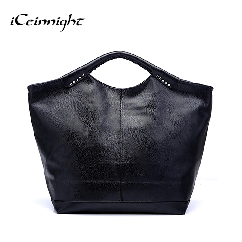 iCeinnight women leather handbags famous brand 2016 black fashion big casual tote long belt messenger bags