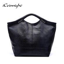 ICeinnight женщины кожаные сумки известная марка 2016 черный мода большой повседневная сумка длинный ремень сумки посыльного высокого качества pu