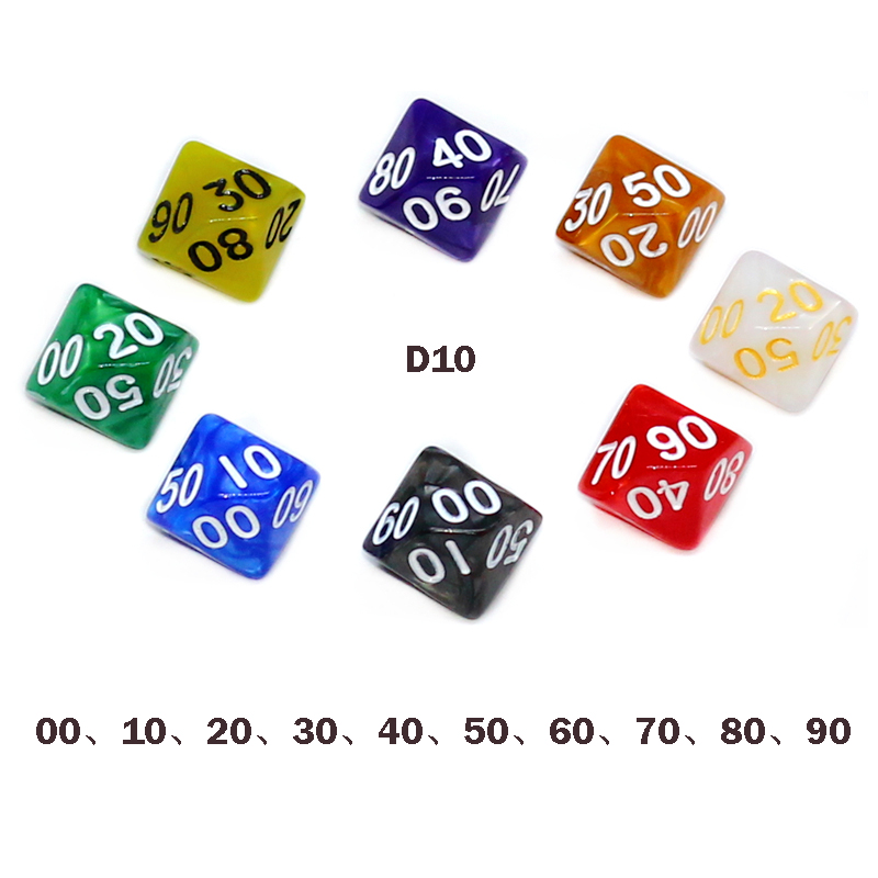 8 Pcs 10-sides D10 00 10 20 30 40 50 60 70 80 90 Ten Sided Pearl Gemmed Dice For Funny RPG Table Board Gambling Games Dices