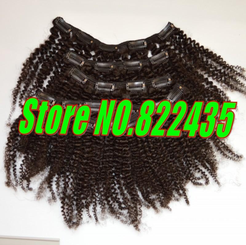 100 Brazilian Human Hair Clip in Hair Extensions 6pcsSet 100-125g Brazilian Virgin Kinky Curly Hair Weave Full Head_conew1