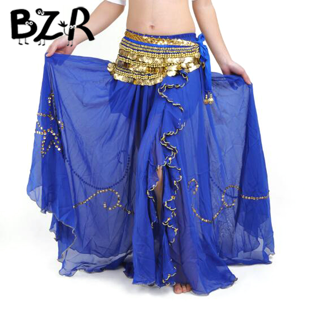 Bazzery Comfortable Chiffon Belly Dance Skirts Women Slit Long Skirt Dress Dancing Costume Adult Girls Dancewear Pure Colors