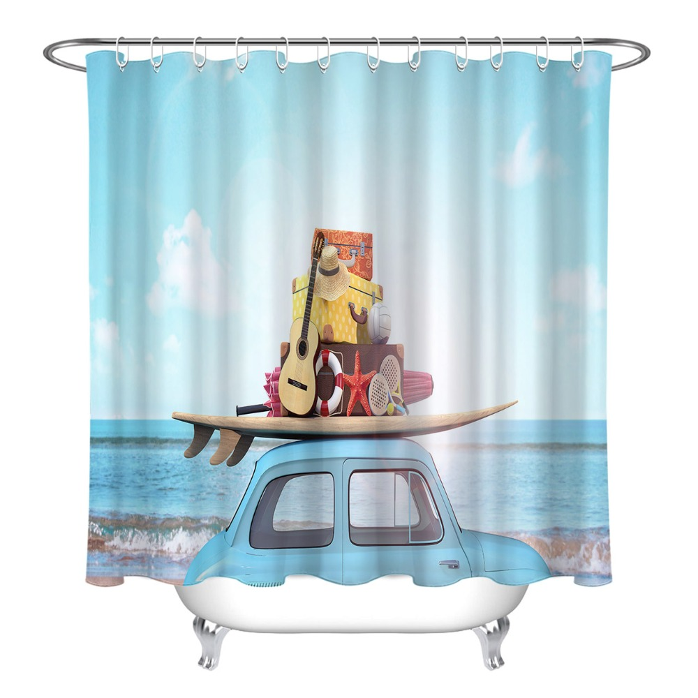 LB 3D Rendering Car With Luggage On The Roof Travel Shower Curtain