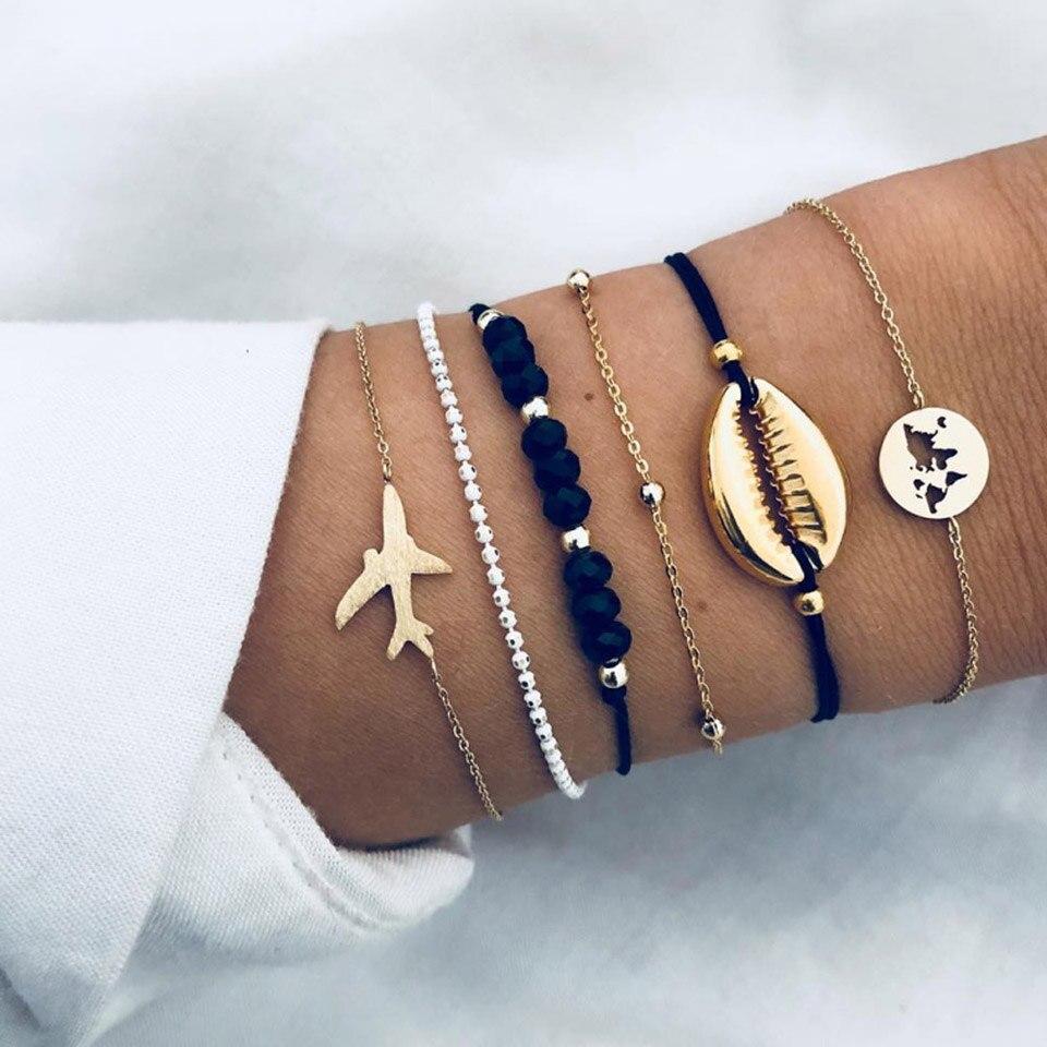 Женский браслет с подвеской в виде морской раковины, черный бисер, 6 шт.|Цепочки и браслеты|   | АлиЭкспресс