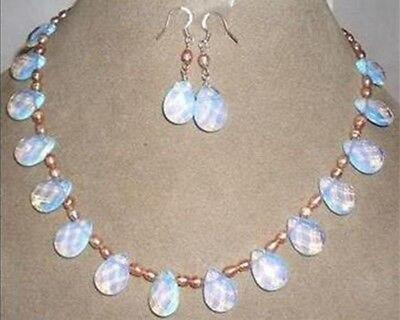 Zinc Alloy Women African Beads Jewelry Set Jewelry Pearl Opal Necklace Earring Set 17 5
