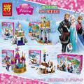 4 Unids 37003 muchacha de la Princesa de bloques de Construcción de juguete Trineo Aventura Anna Elsa Kristoff Anna Sevn la Olaf Kristoff Lepin