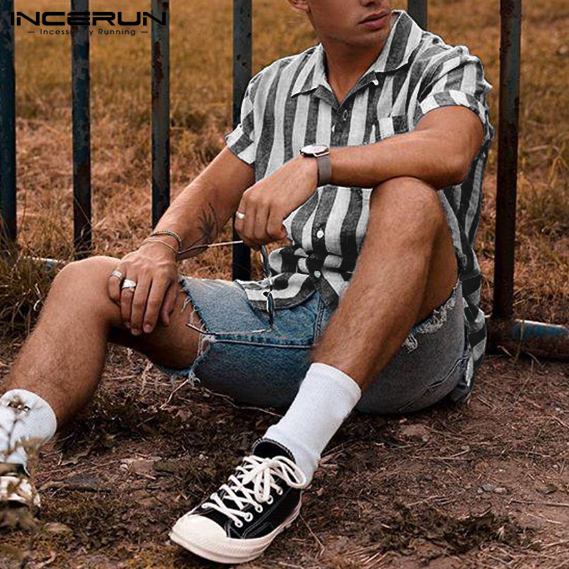 INCERUN Streetwear <font><b>Mens</b></font> <font><b>Striped</b></font> <font><b>Shirt</b></font> <font><b>Short</b></font> <font><b>Sleeve</b></font> Lapel Neck 2020 Fashion Breathable Camisa Casual Brand <font><b>Shirts</b></font> <font><b>Men</b></font> Plus Size image