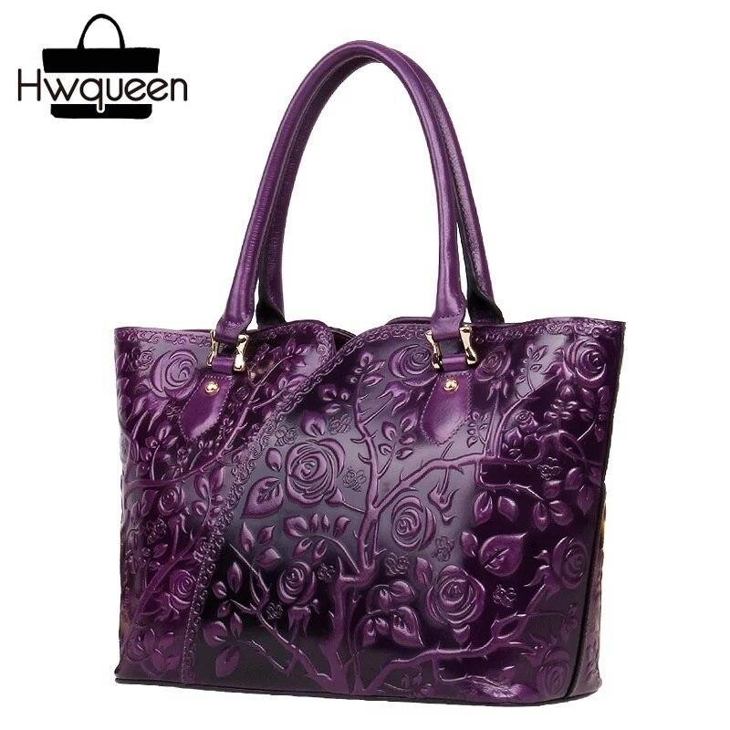 Винтаж тиснением дизайнер из натуральной кожи женский цветок сумки женщина топ женская сумка кошелек сумка Теплые женские фиолетовый сумо