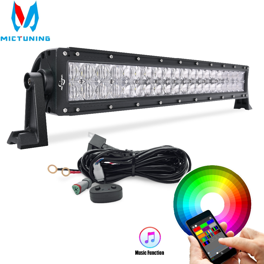 Mictuning 32 22'' 5D LED Light Bar RGB Strobe Flash Multicolor Led Warning Light Bluetooth IOS and Android APP Control Wiring