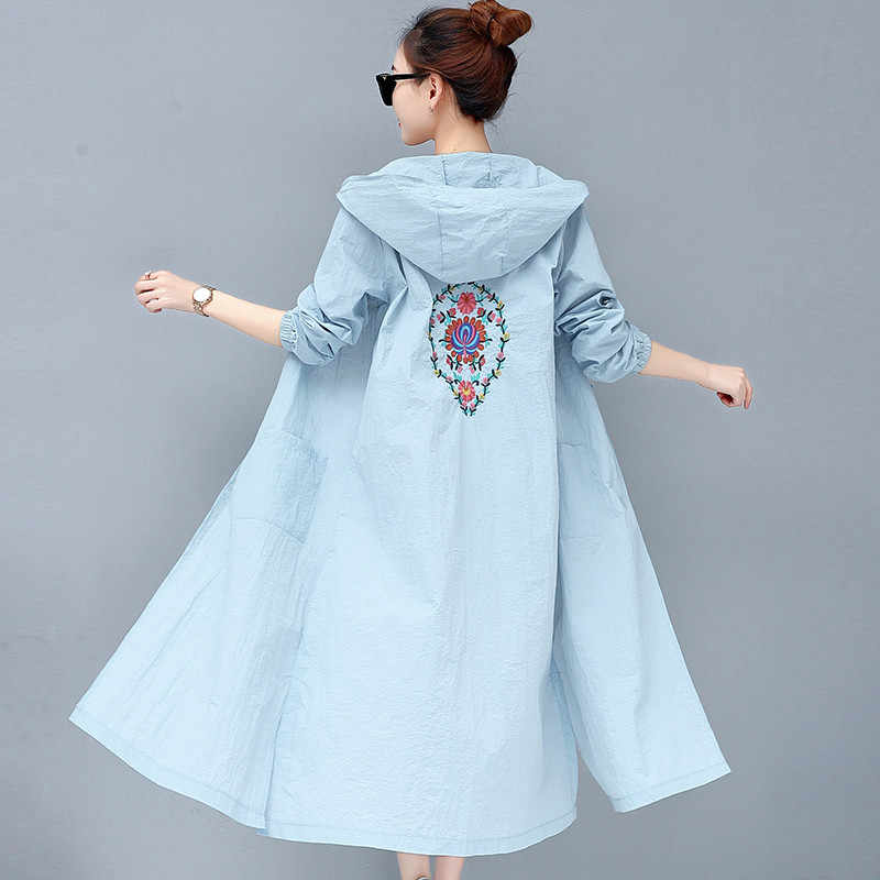 Summer Women Mid long Windbreaker Embroidery Retro Art Loose Sun Protection clothing New Hooded Thin Female Trench coat DT0030