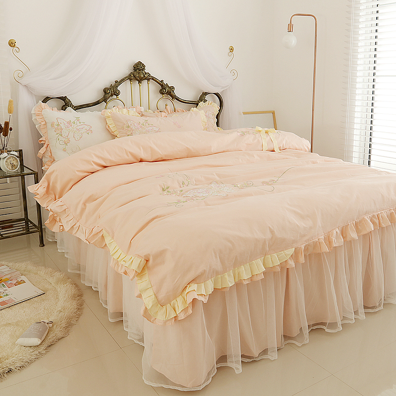 Korean Embroidery Lace Home Textile Bedding Set Luxury 4pcs Princess Ruffle Duvet Cover Elegant Bedspread Bed Skirt 100 Cottonbedding set luxurybedding setlace bedding sets -