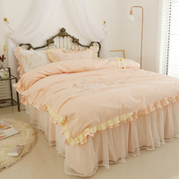 Korean Embroidery Lace Home Textile Bedding Set Luxury 4pcs Princess Ruffle Duvet Cover Elegant Bedspread Bed Skirt 100 Cotton