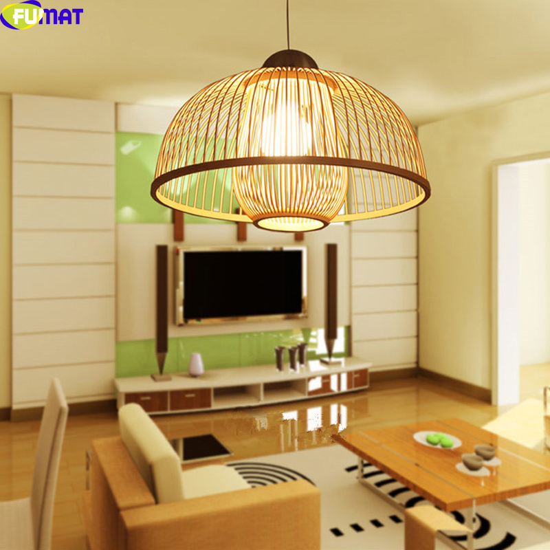 FUMAT Hand-made Bamboo Lampshade Pendant Lights For Living Room Dinning Room Modern Simple Hanging Led Lamp Art Light Fixtures