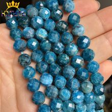 Alam Segi Asli Blue Apatite Manik-manik Batu Permata Longgar Spacer Beads untuk Perhiasan Membuat DIY Fashion Gelang 8 Mm 7.5 inci(China)