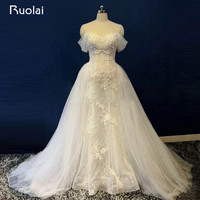 Real Photo Attractive Off the Shoulder Lace Beaded Mermaid Wedding Dress Lace Up Back Detachable Train Bridal Gown ASAW38