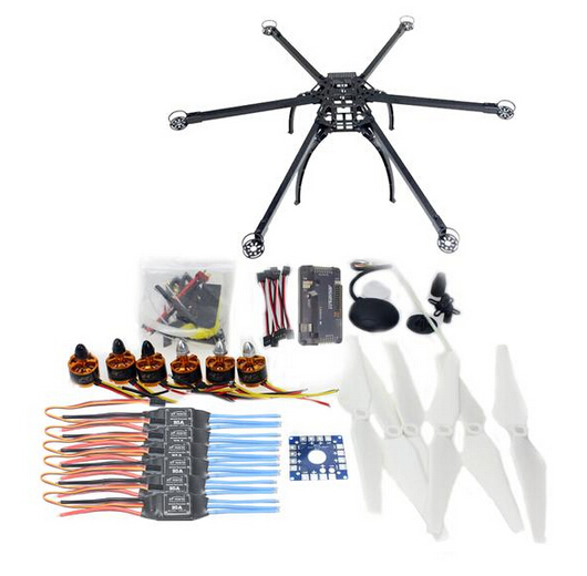 Folding Hexacopter Aircraft Unassembled Frame GPS Drone Kit with APM 2.8 Multicopter Flight Controller F10513-E drone upgraded apm2 6 mini apm pro flight controller neo 7n 7n gps power module