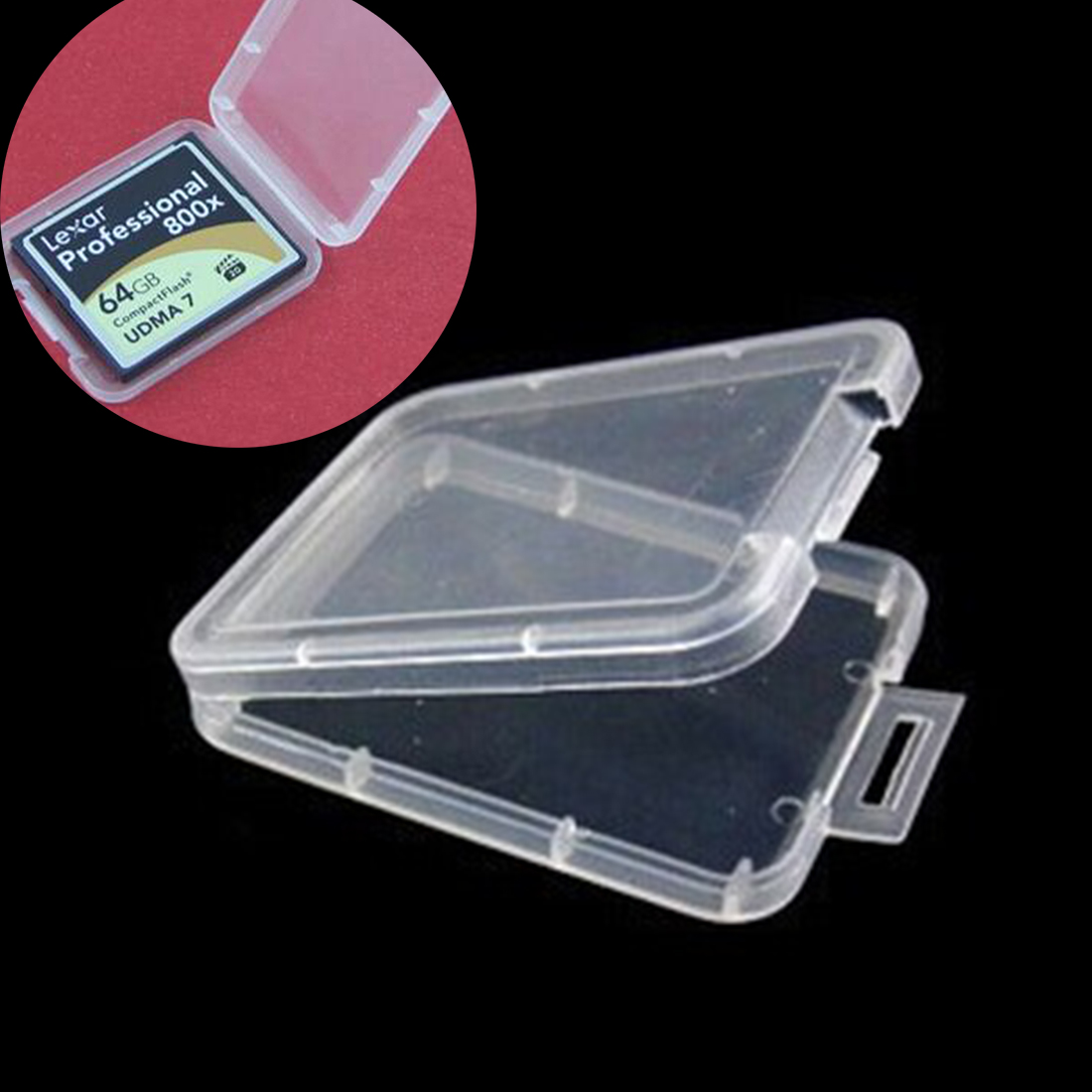 Image 5 - centechia Transparent 10 Pcs CF card box memory card case Compact Flash Card Case Transparent Eco friendsly Plastic Case-in Memory Card Cases from Computer & Office