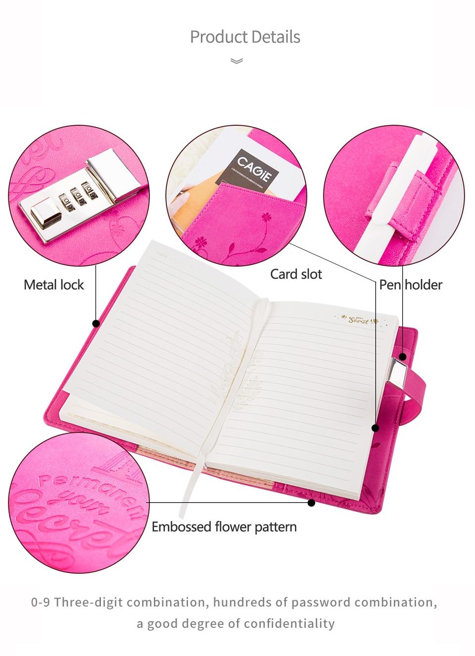 ᗑ】Diario con cerradura cagie cuadernos y revistas cubierta suave ...