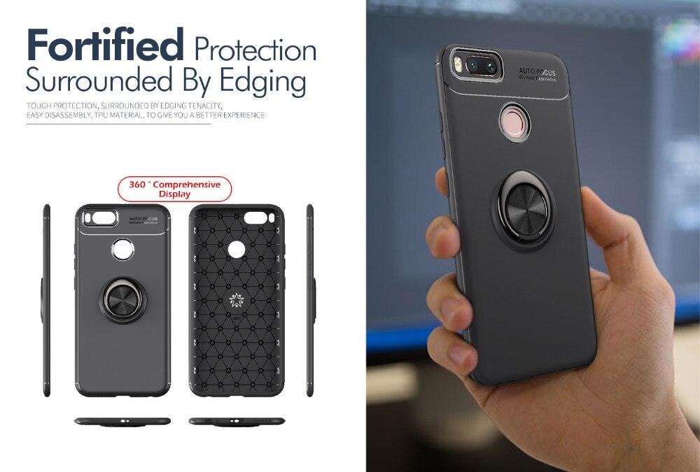 HiCASE Pro Funda para Xiaomi Mi A1 Armor Carcasa con 360 Grados Anillo iman Soporte Hard PC y Silicona TPU Bumper Antigolpes Case