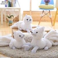 32 63cm Large Nine Tailed White Fox Plush Doll Kawaii Gumiho Stuffed Animal Plush Toys For