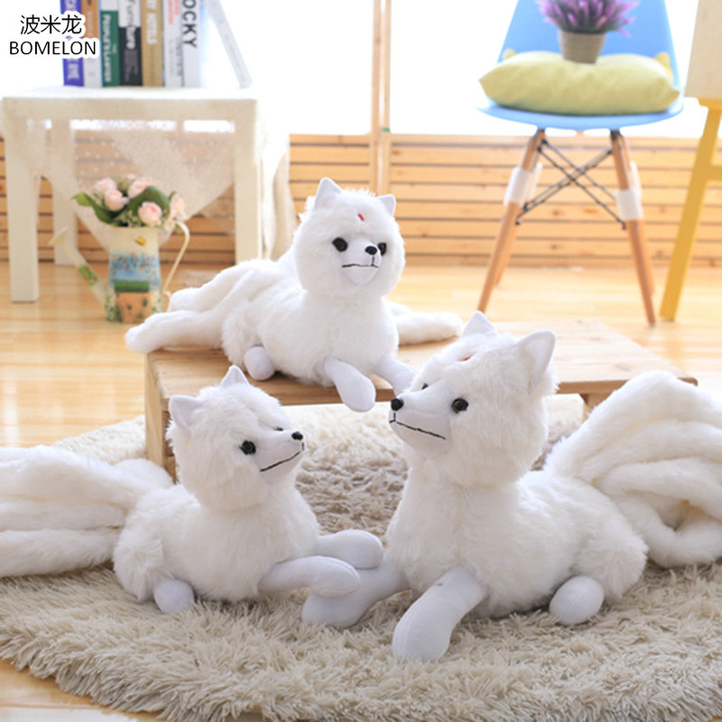 32*63cm Large Nine-tailed White Fox Plush Doll Kawaii Gumiho Stuffed Animal Plush Toys for Children Girl Birthday Gift Brinquedo 160cm cute pink fox plush toys sleep pillow stuffed cushion fox doll birthday gift for children animal stuffed toy