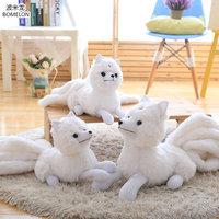 32*63cm Large Plush Nine tailed White Fox Doll Kawaii Gumiho Stuffed Animal Plush Toys for Children Girl Birthday Gift Brinquedo