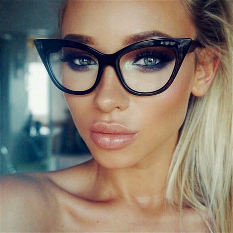 Plinth Cat Eye Flat Reading Sunglasses Women Big & Small Delicate Black Frame Transparent Lens Cateye Sunglasses Oculos De Sol
