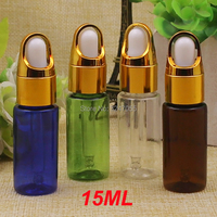 15ML 50pcs 100pcs Empty Plastic Cosmetic Essential Oil Bottle, Green Essence Container with Basket Cap, Glass Pipetts Bottles