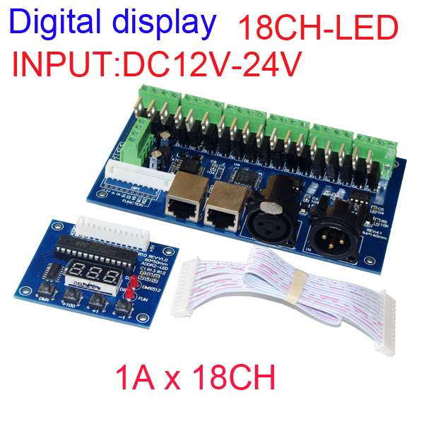 wholesale 1pcs DMX-18CH-LED digital display led decoder DMX512 XRL 3P RJ45 led dimmer, controller,drive for RGB led strip lights 350ma constant current 12ch dmx dimmer 12 channel dmx 512 dimmer drive led dmx512 decoder rj45 xrl 3p
