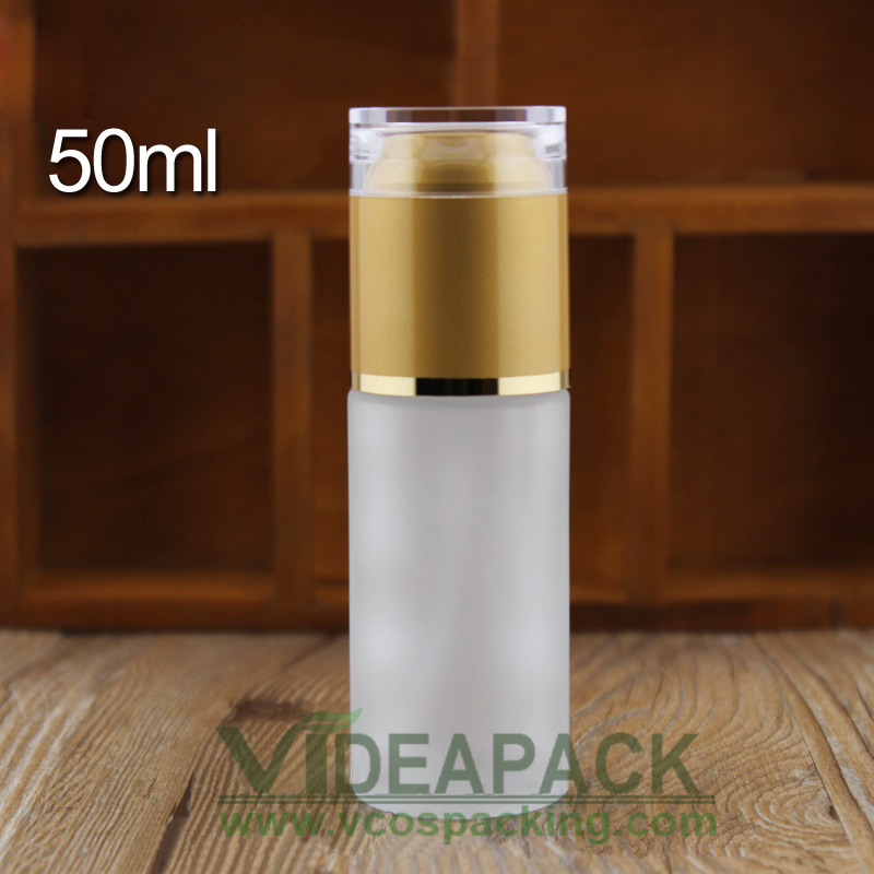 100pcs 50ml Glass Frosted Lotion Pump Bottle Cosmetic Skin Cream Packaging Container With Acrylic Plastic Lid Gold Silver Cap