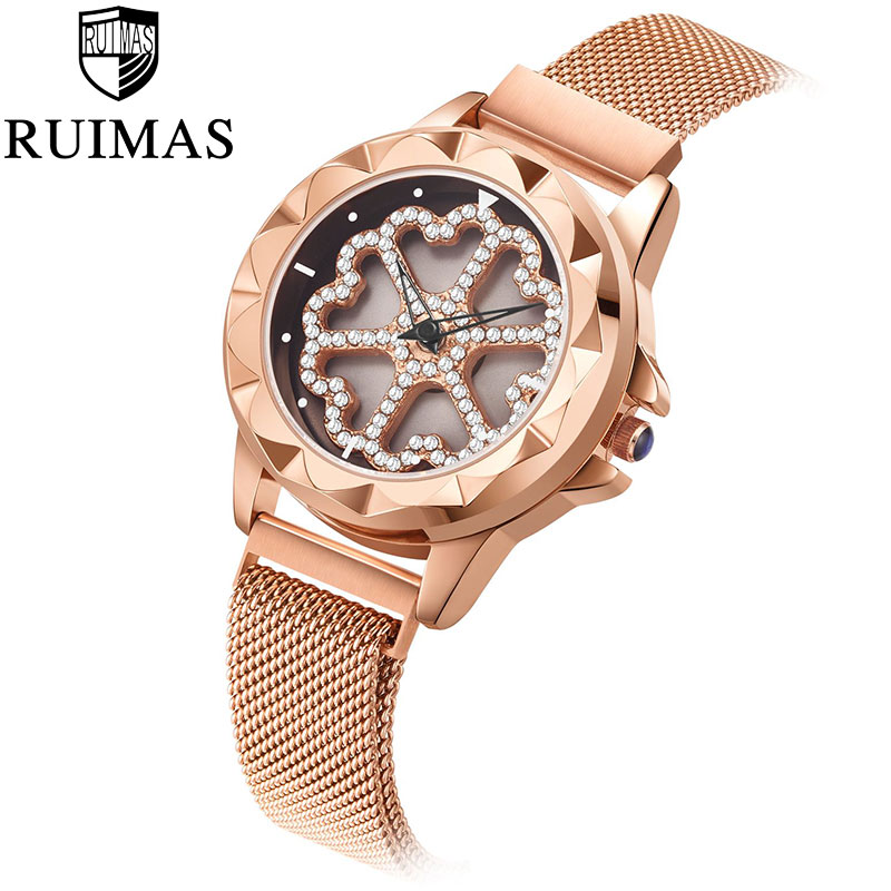 Women Watches Top Brand Luxury Ladies Mesh Belt Flower Rhinestone Ultra thin Watch Stainless Steel Quartz Watch Reloj Mujer in Women 39 s Watches from Watches