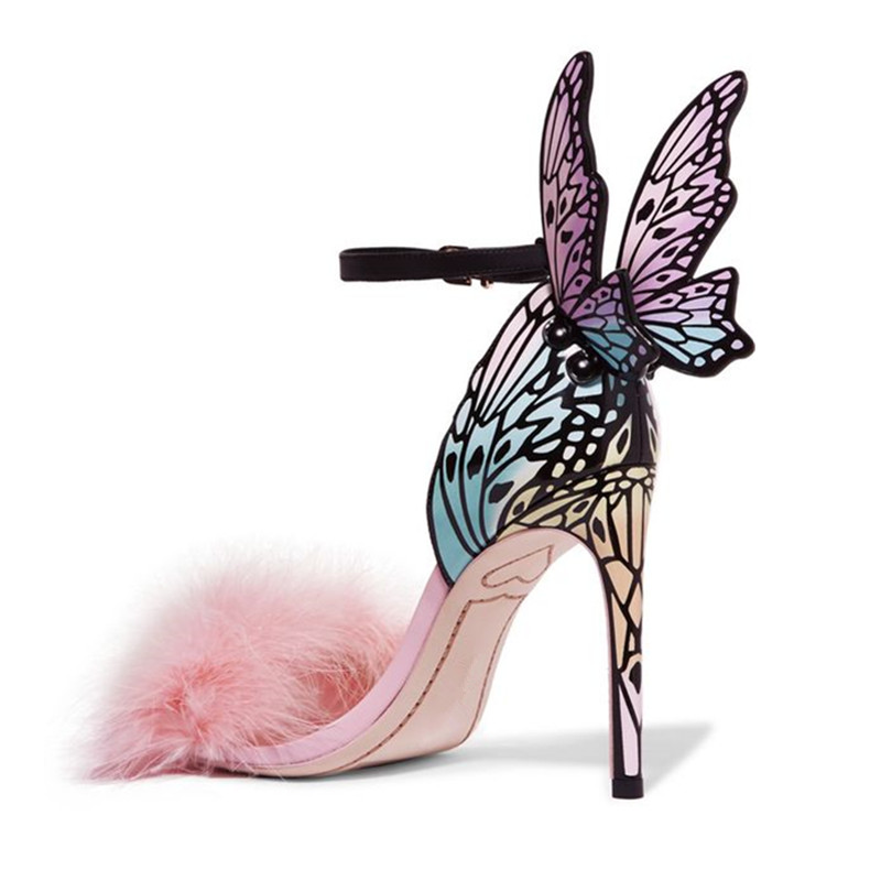 Luxury Handmade Multi Embroidered Butterfly Sandals Angel Wings Pumps Party Wedding Ankle Wrap High Heels Pink Fur Women Shoes|Women's Pumps| - AliExpress