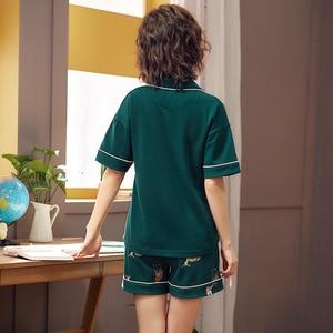 Image 3 - Summer Loose Pajama Sets Women Cartoon Giraffe Print 2 Pieces Shorts Elastic Waist Pyjamas Women Pijamas пижама женская S93224