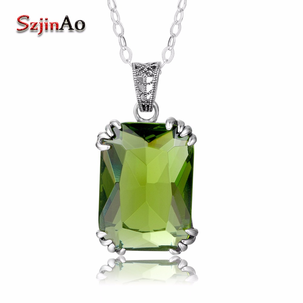 Szjinao Handmade Fine Jewelry Socialite Pendants Peridot Olivine 925 Sterling Silver Pendant Necklace For Women Valentines daySzjinao Handmade Fine Jewelry Socialite Pendants Peridot Olivine 925 Sterling Silver Pendant Necklace For Women Valentines day