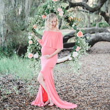 Coral Pink Maternity Cotton Dress Long Stretch Pregnancy Photography Clothes Props
