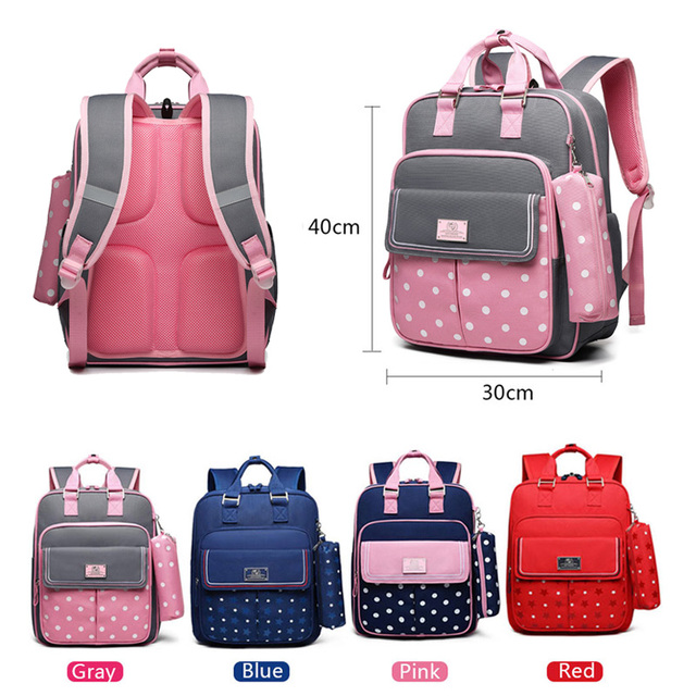 Polka Dot Girl School Backpack Bag for Girls Children Kids 1