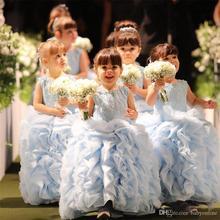 2016 New Cute Light Blue Girl s Dress Sheer Crew Neck Appliques Ball Gown Princess Beaded