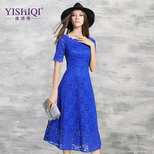 Yishiqi Autumn New Europe Hollow Out Blue Sequins Fashion Long Lace Dresses Casual Women Slim Sexy Party Maxi Dresses