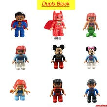 Duplo Bat Man Super Man Mickey Mouse Sea Maid Figures Blocks Children Birthday Christmas Gifts Toys Duplo Lockings Batman(China)
