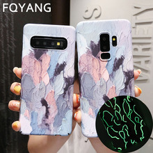 Luxury Oil Painting Luminous Case For iphone 8plus x xs max xr 6 6s 7 Plus Dye Graffiti PC Hard Back Cover Coque
