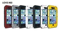 Tình yêu Mei Mạnh Mẽ Cuộc Sống Không Thấm Nước Chống Rung Kim Loại Nhôm Trường Hợp Bìa Cho Apple iPhone 5C + Gorilla Kính Cường Lực
