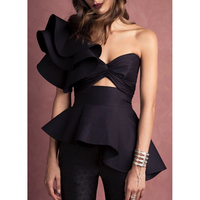 Newest Fashion 2019 Summer Designer Top Camis Women's One Shoulder Asymmetrical Ruffle Camis Top