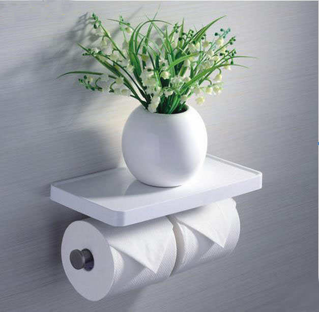 Free Shipping Wall Mounted Multifunction Double Toilet Paper Holder With ABS Counter Bathroom Phone Holder Tissue Roller 2016 newest verto toilet paper holder bathroom abs surface double tissue accessories quality wc soap holder can hold phone z3