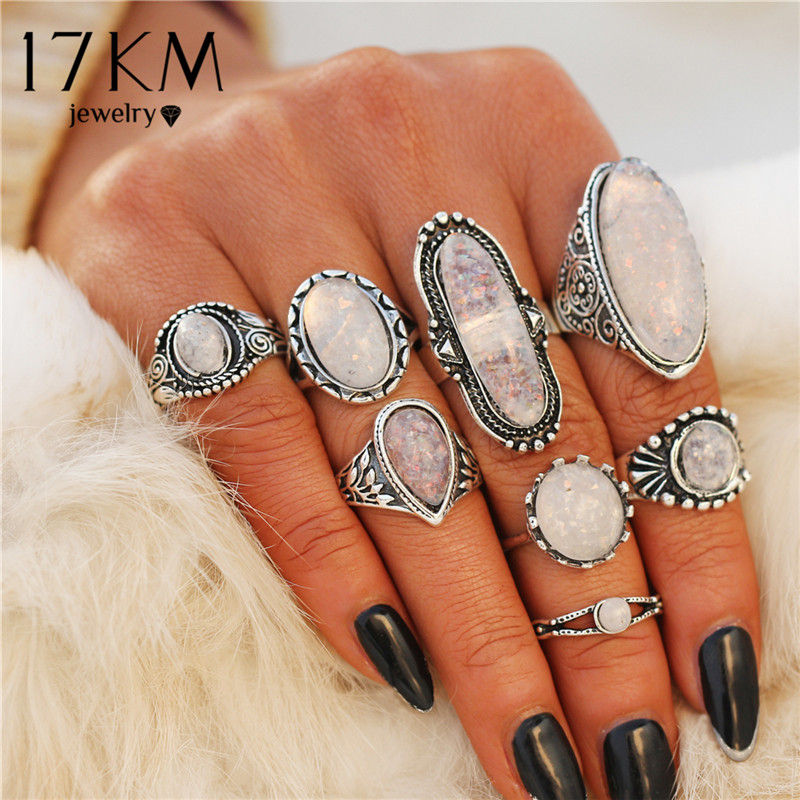 17KM New Design Vintage Opal Knuckle Rings Set For Women Boho Geometric Pattern Flower Rings Party Bohemian Jewelry 8 PCS/Set(China)