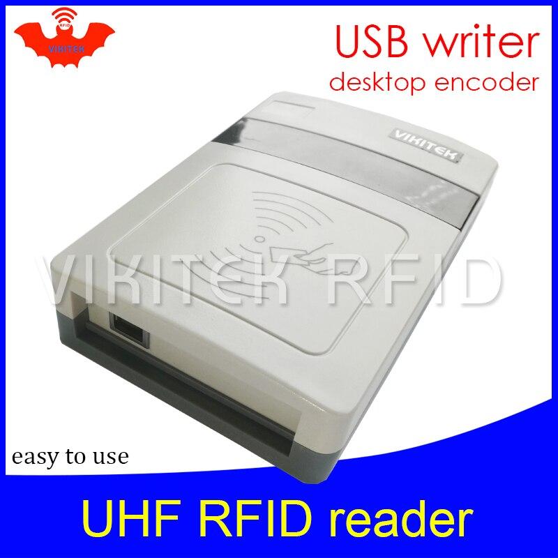 UHF RFID reader short range Integrated Reader VIKITEK VFR08 usb port desktop rfid tag encoder writer easy to use copier writer 860mhz 960mhz usb rfid card reader writer read range up to 0 1m depends on the tag for access control system